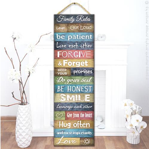 """שלט עץ """"חוקי הבית-אנגלית"""""""
