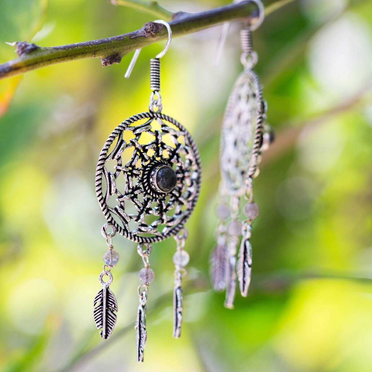 עגיל Dream Catcher מצופה כסף לברדורייט