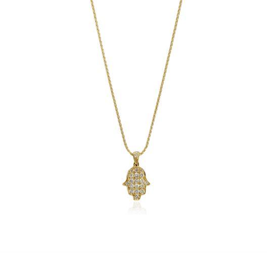 תליון זהב 18 קראט חמסה עם יהלומים