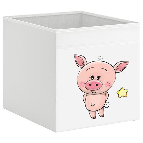 קופסת אחסון לכוורת עם הדפס-חזיר
