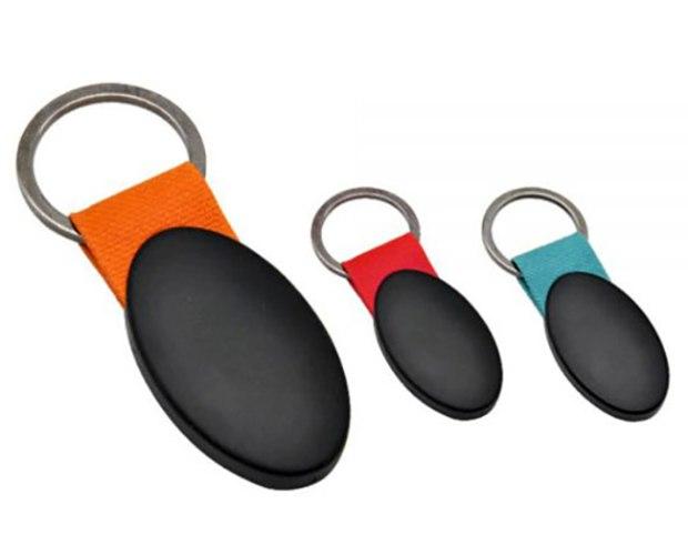 מחזיק מפתחות מתכת שחורה אליפסה