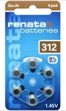 סוללות למכשירי שמיעה RENATA  312