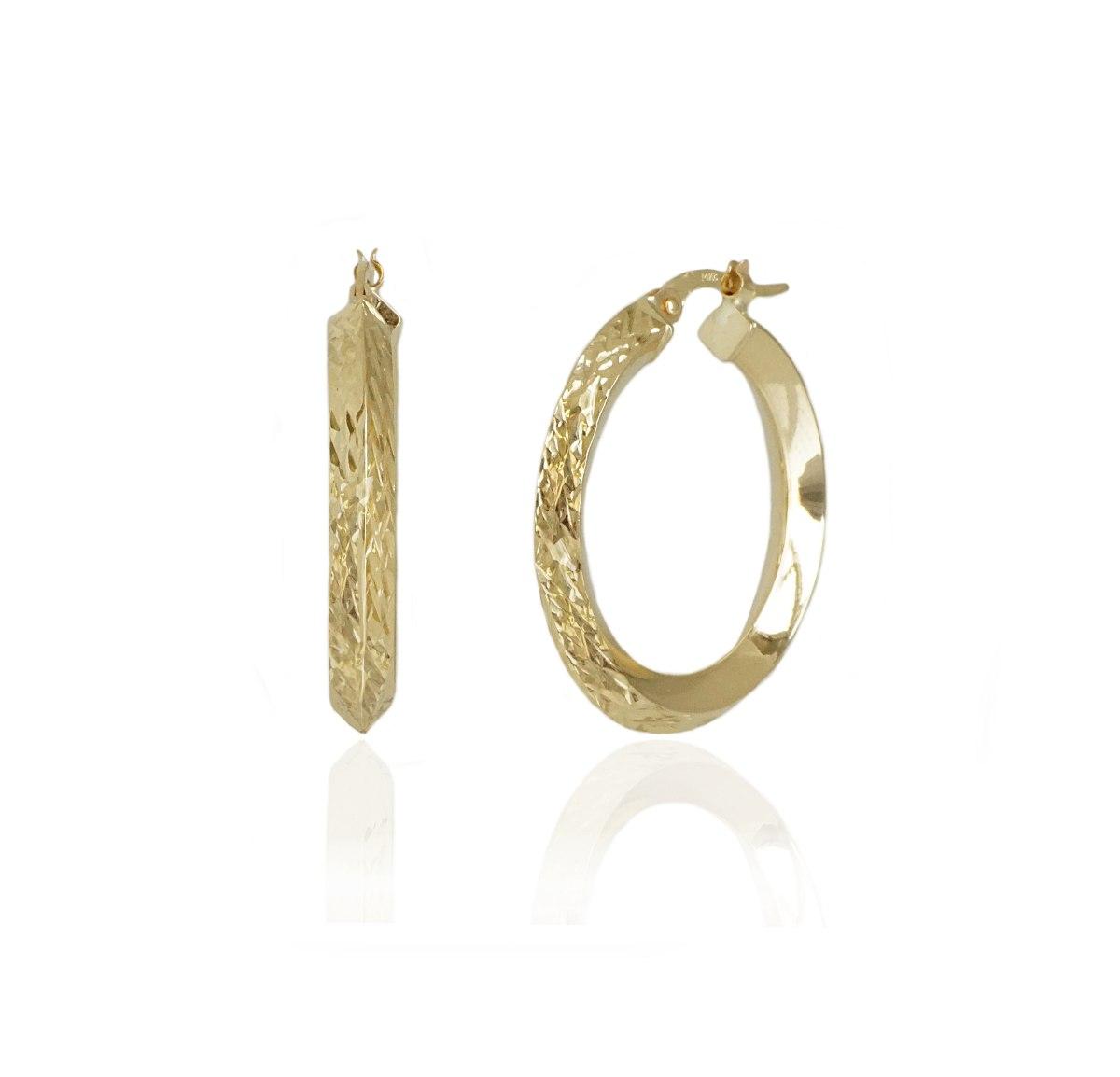 עגילי חישוק זהב מעוצבים עם חיתוכי ליזר 2.7 סמ