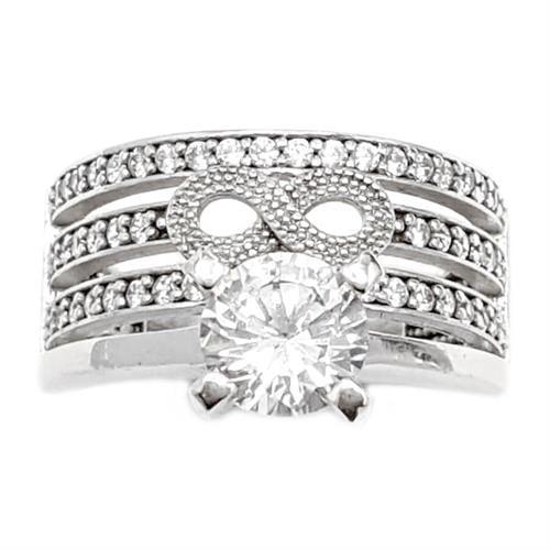 טבעת כסף רחבה מעוצבת אבן זרקון סוליטר ומשובצת אבני זרקון  RG5949 | תכשיטי כסף | טבעות כסף