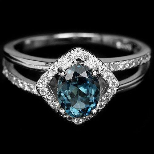 טבעת כסף משובצת טופז כחול וזרקונים RG5501 | תכשיטי כסף 925 | טבעת כסף