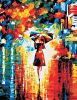 צביעה לפי מספרים - נסיכת גשם עם מטרייה