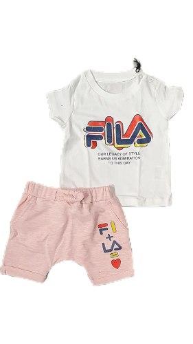 חליפת תינוקות בנות ורוד לבן FILA