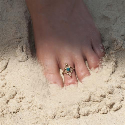 טבעת רגל בראס מעויין טורקיז