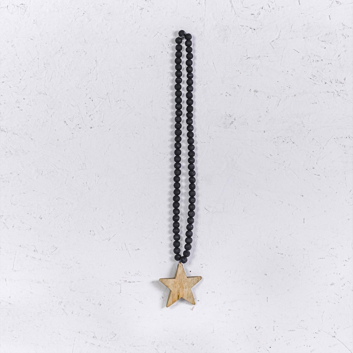שרשרת חרוזי עץ שחור עם כוכב טבעי