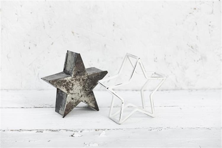 זוג כוכבים קטן כסוף מושחר ולבן