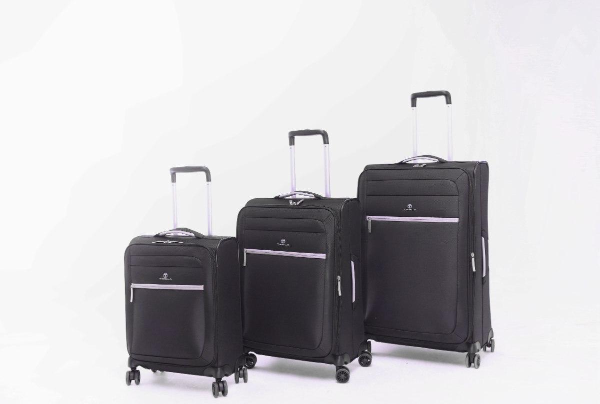 סט 3 מזוודות קלות במיוחד וסופר איכותיות TESLA - צבע שחור