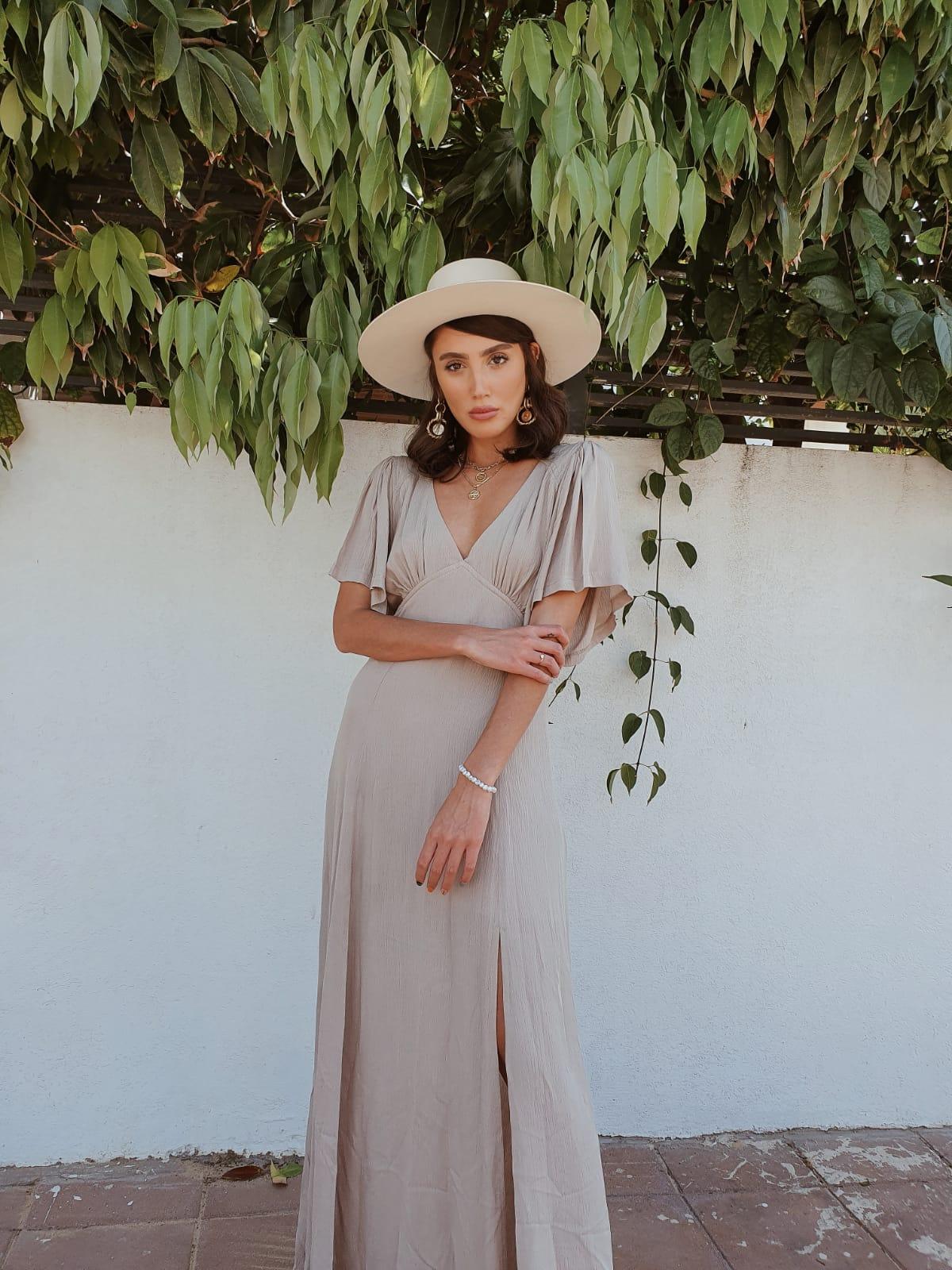 שמלת שילה מקסי - אבן