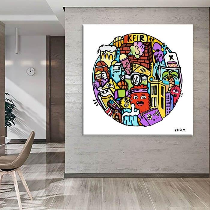 ציור גרפיטי לעיצוב המשרד של האמן כפיר תג'ר