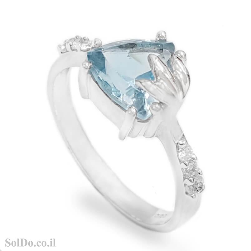טבעת מכסף משובצת אבן טופז כחולה  וזרקונים RG6157 | תכשיטי כסף 925 | טבעות כסף
