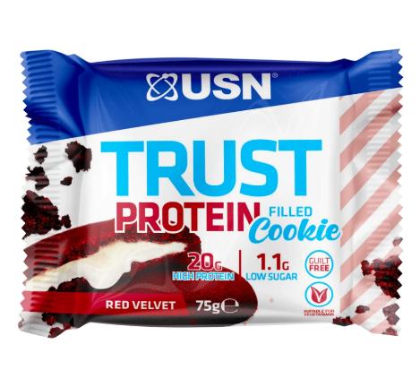 עוגיית חלבון TRUST PROTEIN מבית USN |בטעם חדש*red velvet 1 יח טבעוני