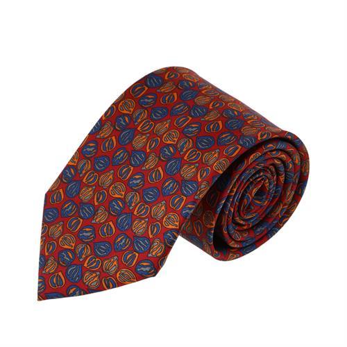 עניבה דגם פלחים כתום אדום
