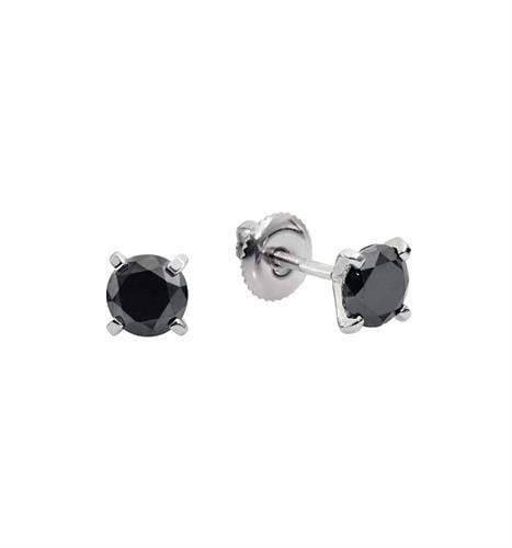1 קראט עגילי יהלומים שחורים צמודים בזהב 14K