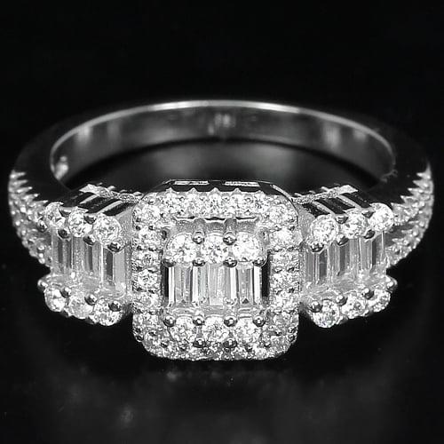 טבעת כסף משובצת זרקונים RG5191 | תכשיטי כסף | טבעות כסף