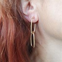 """עגילי חישוקי זהב מלבניים נופלים 4.6 ס""""מ"""