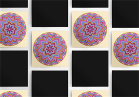 """מגנט אומנותי - מנדלת """"זרע החיים"""" - מנדלה מקורית בעבודת יד מודפסת על מגנט"""