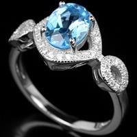 טבעת כסף משובצת טופז כחול וזרקונים RG1145   תכשיטי כסף 925