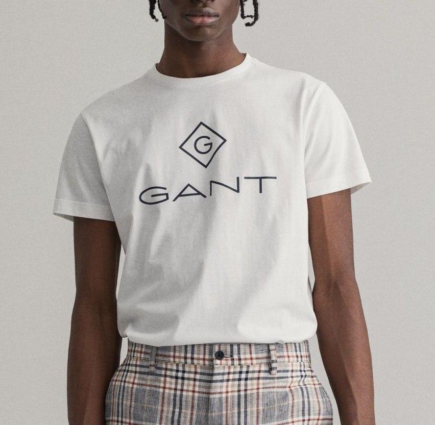 גברים   GANT T-SHIRT LOGO WHITE