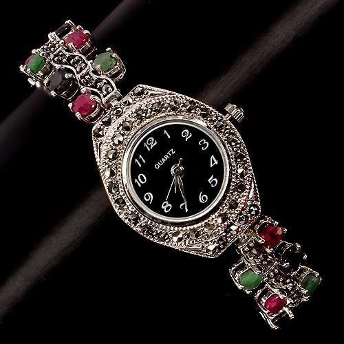 שעון כסף משובץ Marcasite ורובי אדום, ספיר וברכת ירוקה SH1503