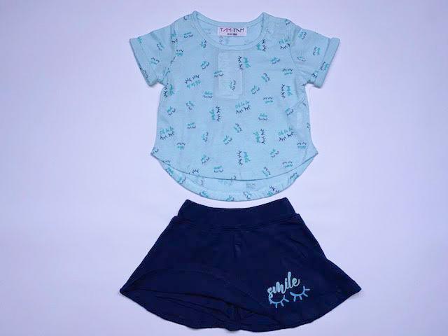חליפת תינוקות תכלת מכנס חצאית