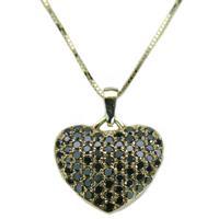 שרשרת ותליון לב פאווה בזהב 14 קרט משובץ יהלומים שחורים 0.90 קראט