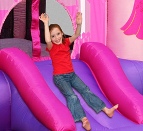 מתקן קפיצה מגלשת נסיכות וחישוק הפי הופ -  9201P- Princess Slide And Hoop Bouncer Happy Hop