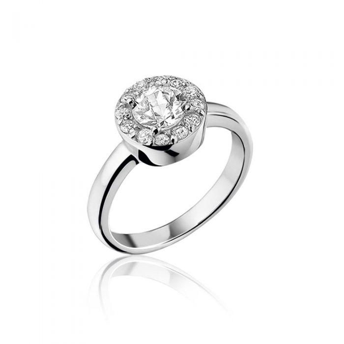 טבעת כסף טהור סטרלינג 925 שיבוץ מרכזי וציפוי רודיום