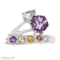 טבעת מכסף משובצת אבן אמטיסט, טופז כחולות, סיטרין, גרנט ופרידוט RG6102 | תכשיטי כסף 925 | טבעות כסף