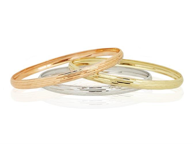 צמיד זהב קשיח עם חריטת לייזר לאישה (צבע זהב לבחירה)