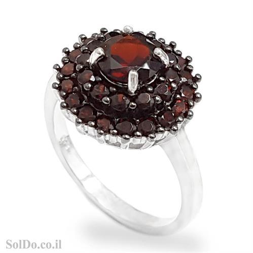 טבעת מכסף משובצת אבני גרנט RG885 | תכשיטי כסף 925 | טבעות כסף