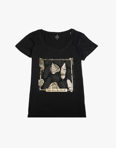 חולצת טריקו מעוצבת עלי זהב / שחור נשים