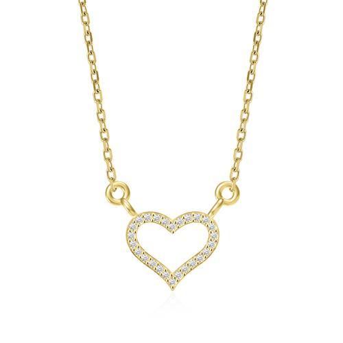 תליון ושרשרת זהב צהוב 14 קראט לב משובץ יהלומים