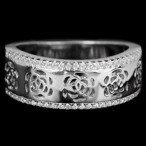 טבעת כסף משובצת אבני זרקון RG5624 | תכשיטי כסף | טבעות כסף