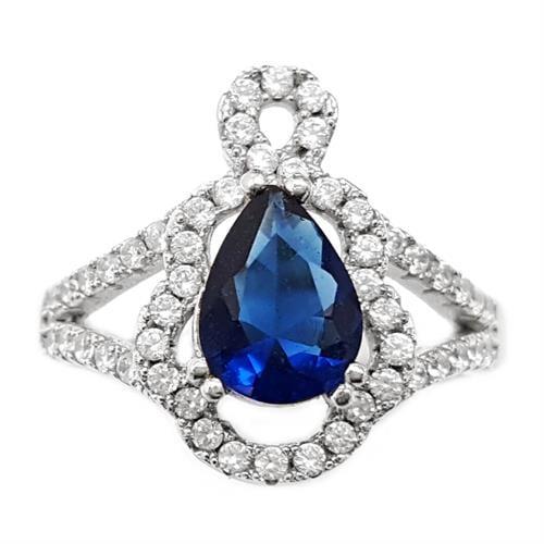טבעת כסף משובצת אבן זרקון כחולה וזרקונים קטנים RG5654 | תכשיטי כסף 925 | טבעות כסף