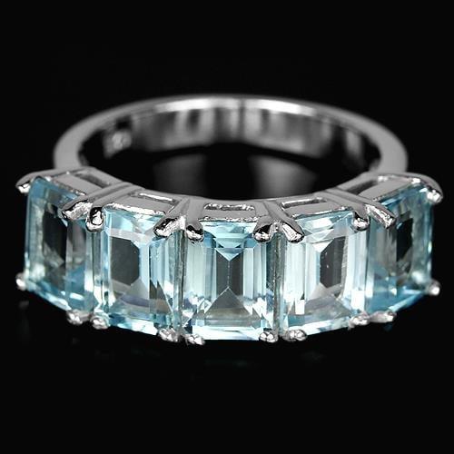 טבעת כסף משובצת טופז כחול וזרקונים RG1881 | תכשיטי כסף 925