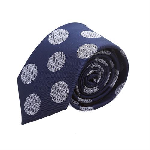 עניבה עיגולים כחול כהה לבן