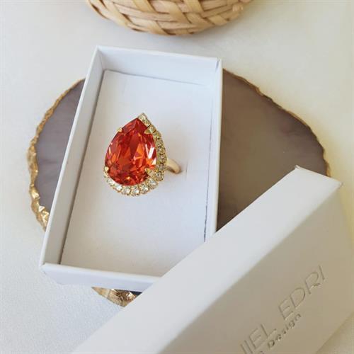 טבעת טיפה סברובסקי -אדום כתום זהב