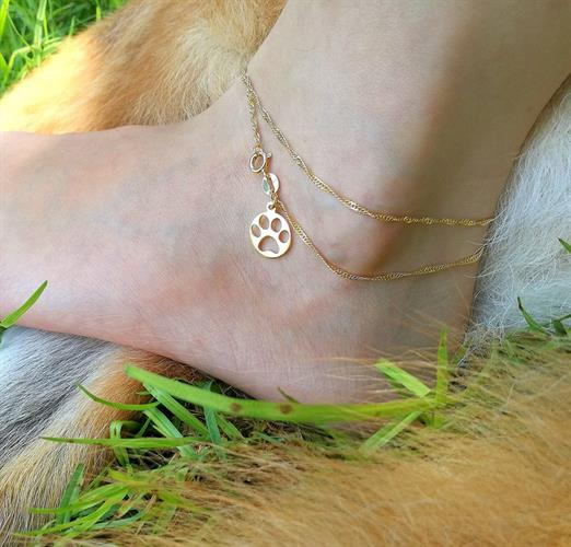 Paw print anklet