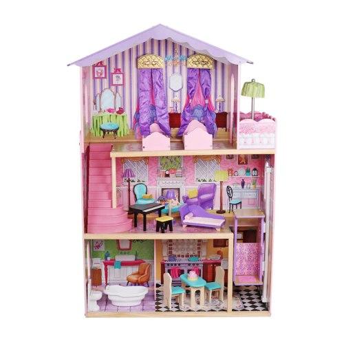 W06A232 - בית בובות נסיכות כולל מעלית, מרפסת שמש וריהוט מלא, צעצועץ