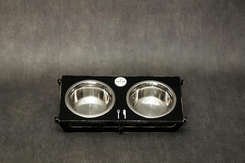 כלי אוכל ושתיה לחתול - שוטים M שחור ווש