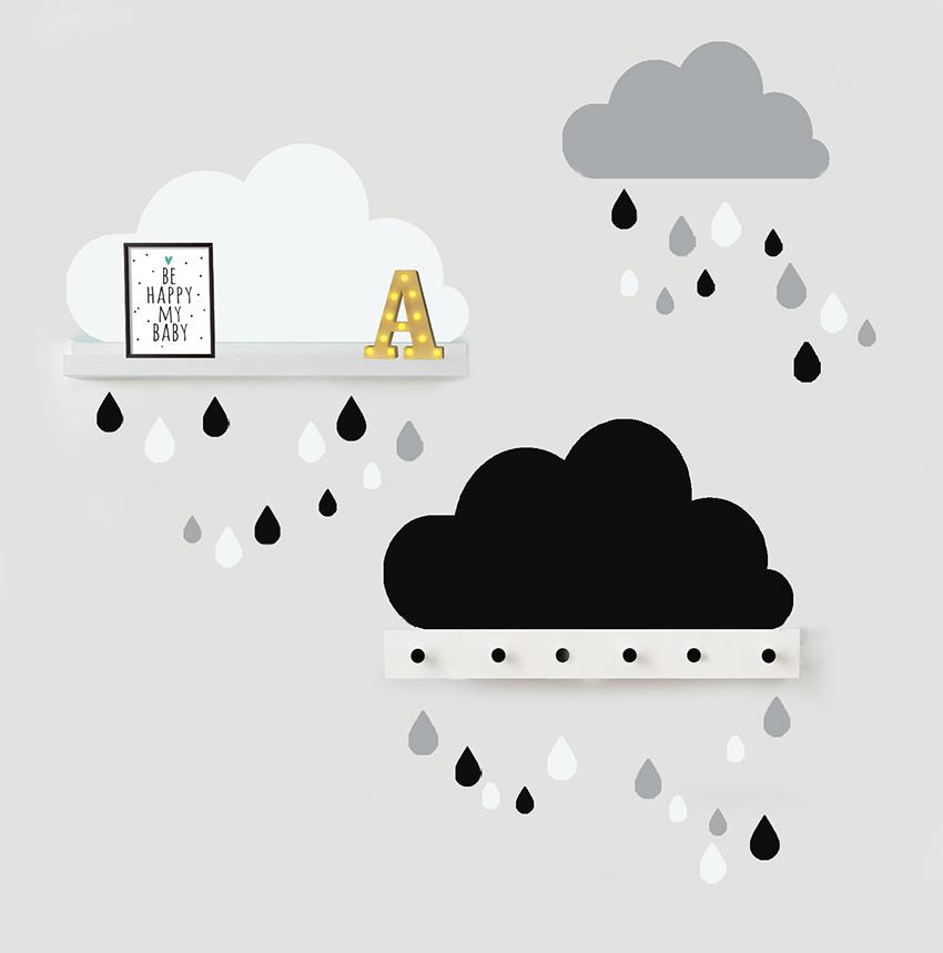 סט מדבקות 3 עננים (שחור, לבן ואפור) כולל 30 טיפות גשם