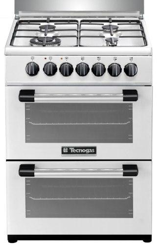 """תנור בישול ואפייה משולב דו תאי הילכתי גז 60 ס""""מ טכנוגז לבן TECNOGAS P3W66EE4VEIS"""