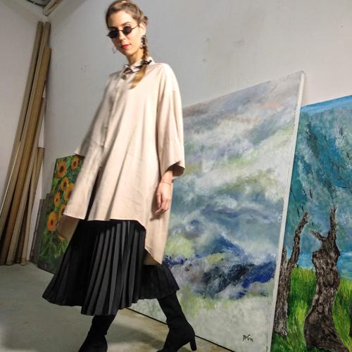 שמלת משי קופרו - אבן