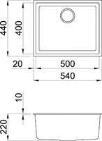 כיור מטבח קוואדרה 105 גרניטק ללא פנל