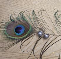 עגיל פנינת פיקוק (כחלחל)