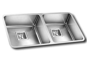 כיור מטבח נירוסטה כפול תוצרת אולין דגם אנדורה 80